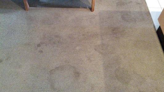 Dry carpet cleaning or low moisture cleaning can be very effective in eliminating stains from synthetic carpets.